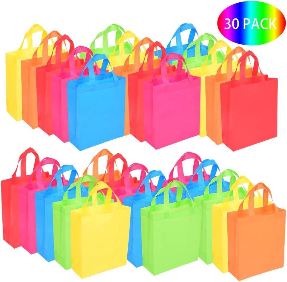 30 Bolsas para Regalo Bolsas de Fiesta con Asas Bolsas de Mano no Tejidas Juguete Goody Favor Bolsa para Baby Shower, Cumpleaños, Halloween, Navidad, Artículos para Fiestas en Bodas