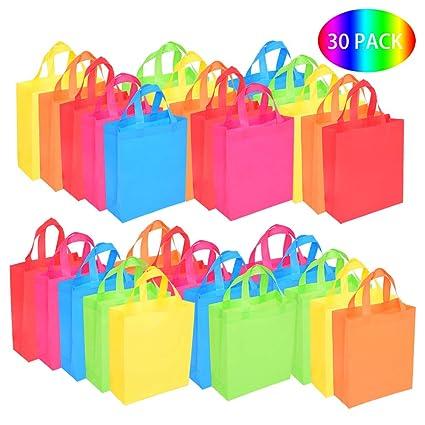 30 Bolsas para Regalo Bolsas de Fiesta con Asas Bolsas de Mano no Tejidas Juguete Goody Favor Bolsa para Baby Shower, Cumpleaños, Halloween, Navidad, ...