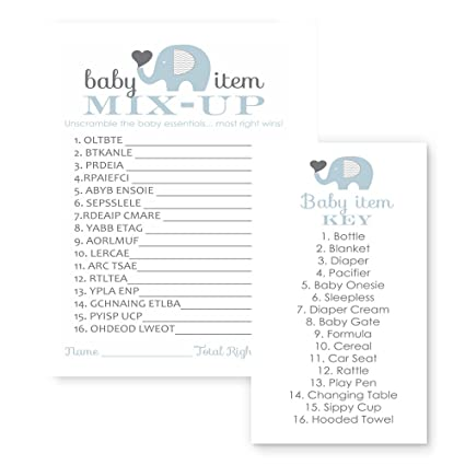 amazon com paper clever party blue elephant baby shower games word