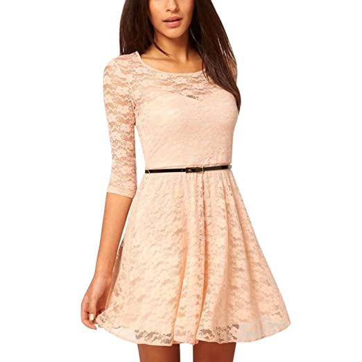 fashionbeautybuy Women O Neck Midi Skater Dress 3/4 Sleeve Lace Cocktail Dresses Waist Belt