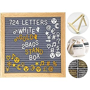 Felt Letter Board 10x10 Inches with Stand | 724 Changeable Letters Signs Including Emoji Numbers Symbols | Oak Wood Frame Letterboard with Metal Hanger and 2 Canvas Bags (Gray)