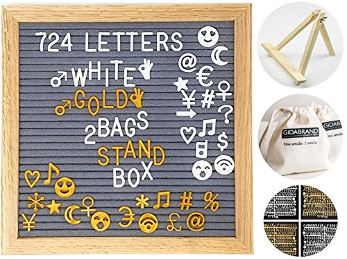 Felt Letter Board 10x10 Inches with Stand | 724 Changeable Letters Signs Including Emoji Numbers Symbols | Oak Wood Frame Letterboard with Metal Hanger and 2 Canvas Bags - Signs Letters Magnetic