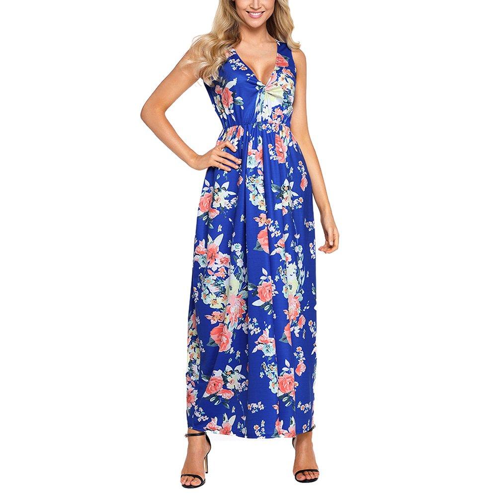 Lrud Women's Sexy Deep V Neck Casual Floral Print Sleeveless Long Maxi Party Dress Royal-Multi-S
