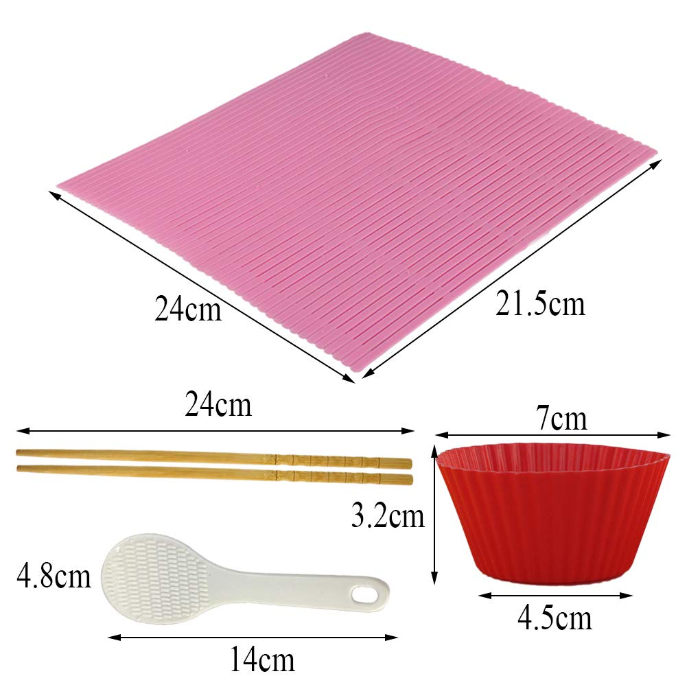Yolyoo Sushi Kit Rolling Mats for Sushi Making 1x Rice Paddle, 6x Silicone Baking Cups and 2 Chopsticks