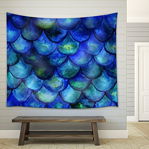 Seamless Background with Hand Drawn with Watercolor Fish Scales Mermaid Tale Fabric Wall