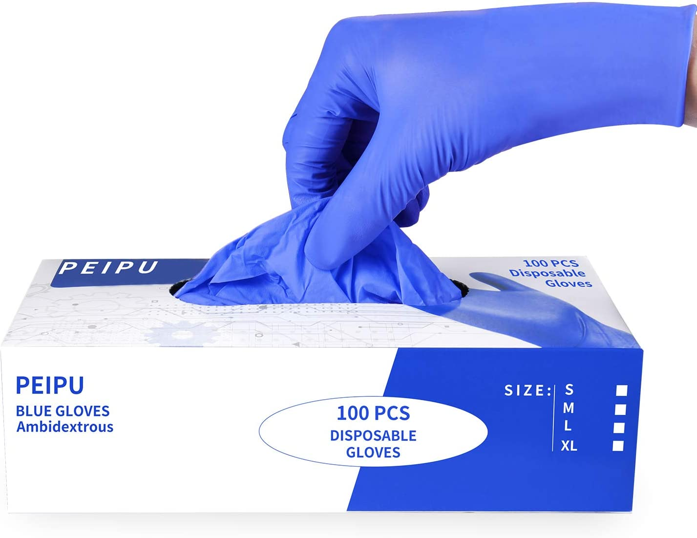 PEIPU Nitrile and Vinyl Blend Material Disposable Gloves, Powder Free, Cleaning Service Gloves, Latex Free, 100 PCS, Medium Size