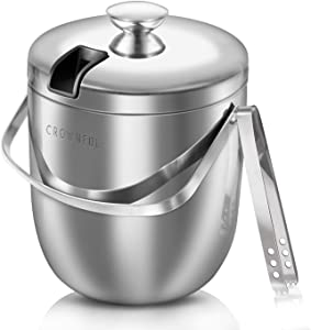 Crownful 2.8L 304 Stainless Steel Ice Bucket, Double Wall with Lid and Ice Tongs, Durable Ice Bucket, Great for Party and Picnic