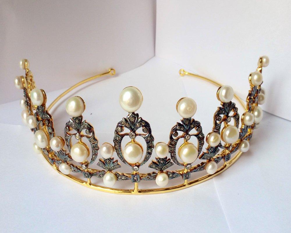 Mindblowing Rose Cut Diamond Tiara - Wedding Rose Cut Diamond Crown - 925 Sterling Silver Tiara Crown - Diamond 925 Silver Tiara - Handmade Tiara - Hair Jewelry
