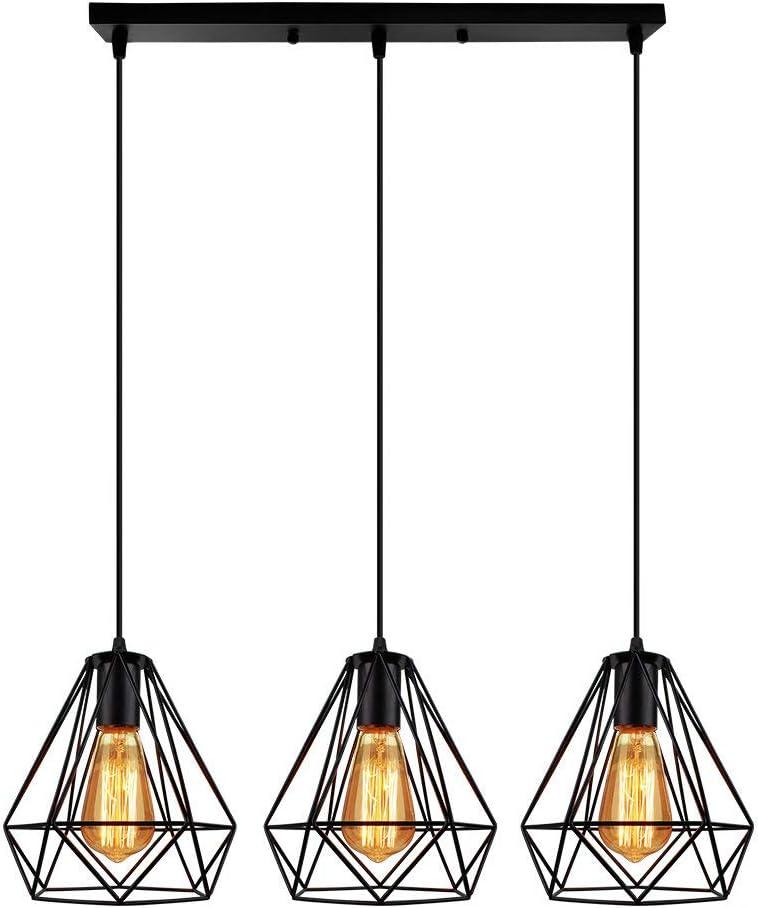 Lampara Colgante forma Diamantes Combinación Palo Largo Luz de Techo Diseño Jaula de Hierro Metal Ø20cm 3Headlights Para Cocina Sala Pasillo Comedor Bar(Negro)