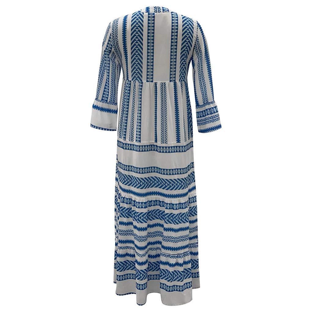 Women Boho V Neck Long Dress Summer Casual T-shirt Striped Flare Plain Ruffle Long Sleeve Maxi Holiday Beach Dresses (XX-Large, Blue) by LANTOVI Women Dress (Image #4)