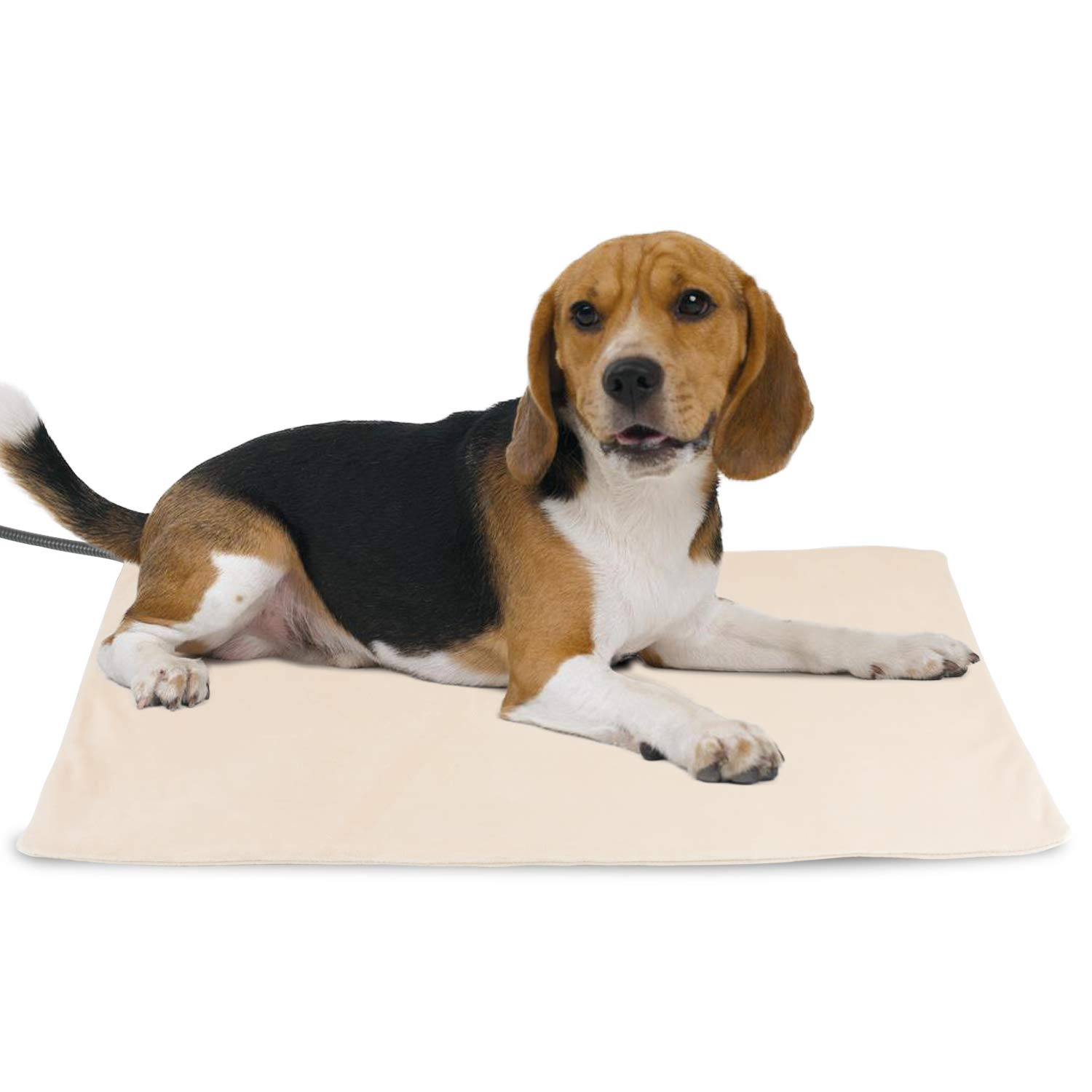 NICREW Pet Heating Pad for Dogs and Cats, Heated Pet Mat with Steel-Wrapped Cord and Soft Fleece Cover, 27.5 x 17.5 Inch, 50 Watts by NICREW
