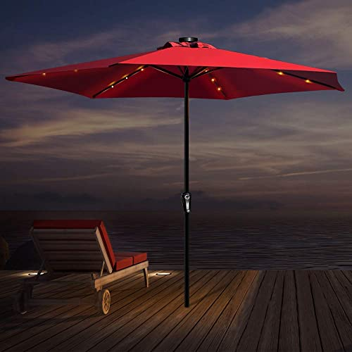 Topmart 10 ft Patio Umbrella Outdoor Market Table Umbrella with 18 Solar Lights and 8 Sturdy Ribs, Polyester Cloth Waterproof Anti-UV Red