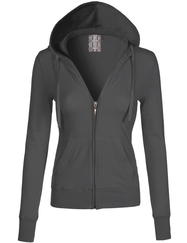 Luna Flower Women's Long Sleeve Slim Fit Kangaroo Pocket Zipper Hoodie Jackets Charcoal S (LFWHD0029)