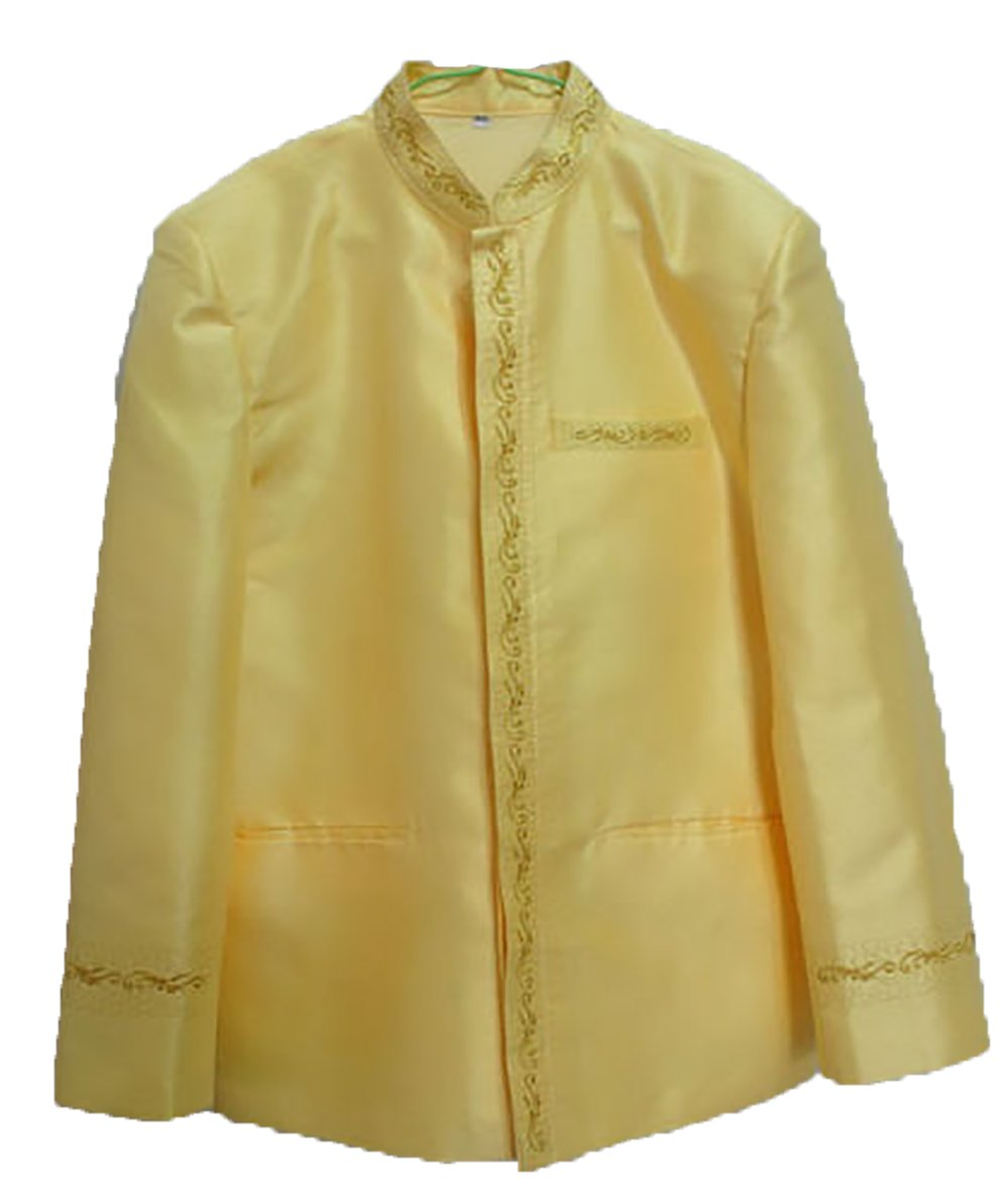 Men's Jasmine Yellow Lao Laos Silk Wedding Top Shirt Jacket sz XXL by Nanon
