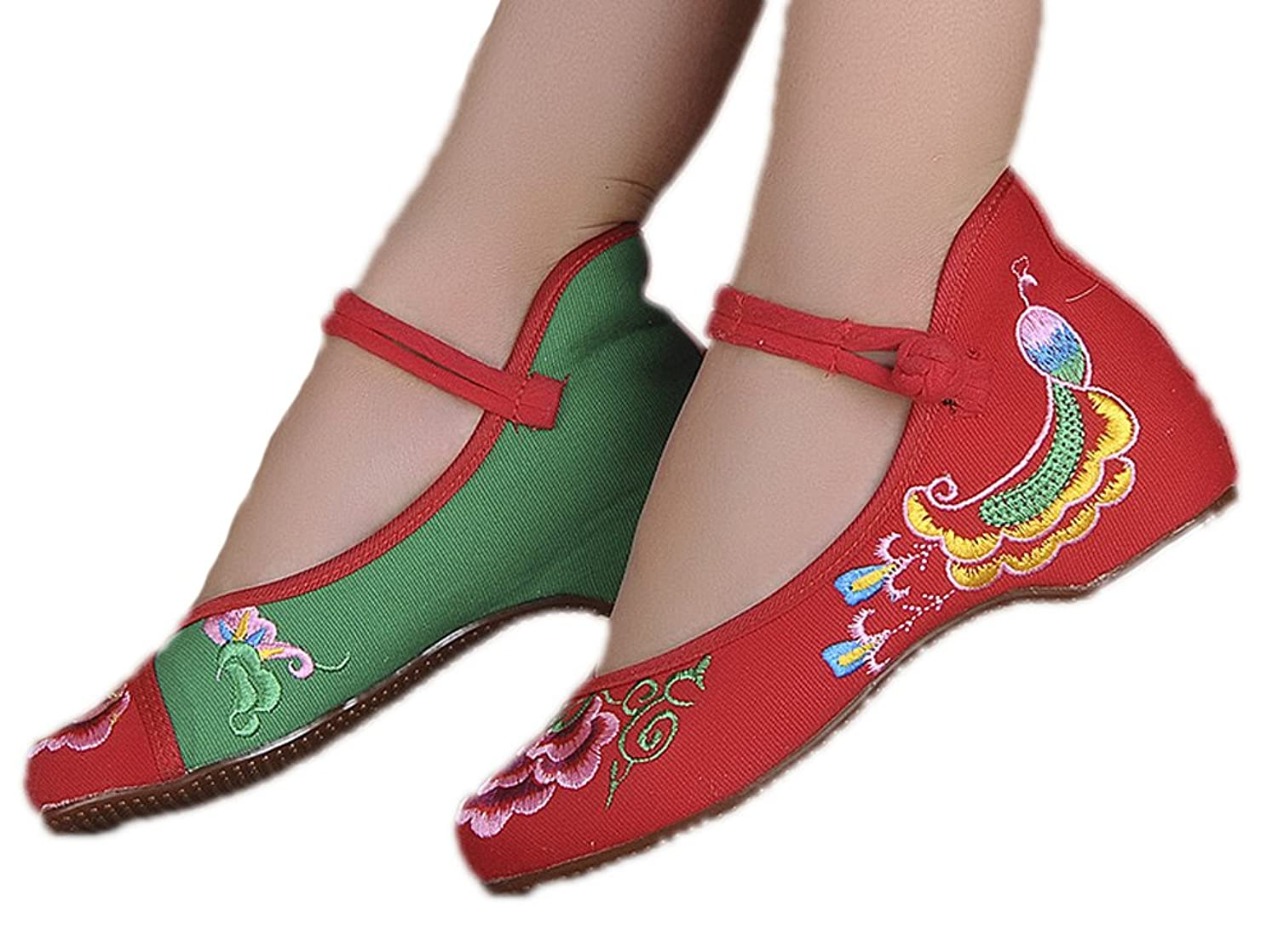 AvaCostume Women's Embroidery Floral Peacock Round Toe Cheongsam Flat Shoes