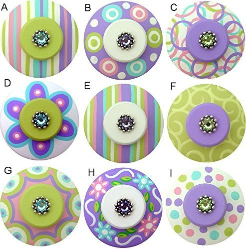 Colorful Hand Painted Decorative Purple Pink Aqua & Apple Green Abstract Geometric Flower Drawer Knobs Pulls Choose Your Designs (SINGLE KNOB)