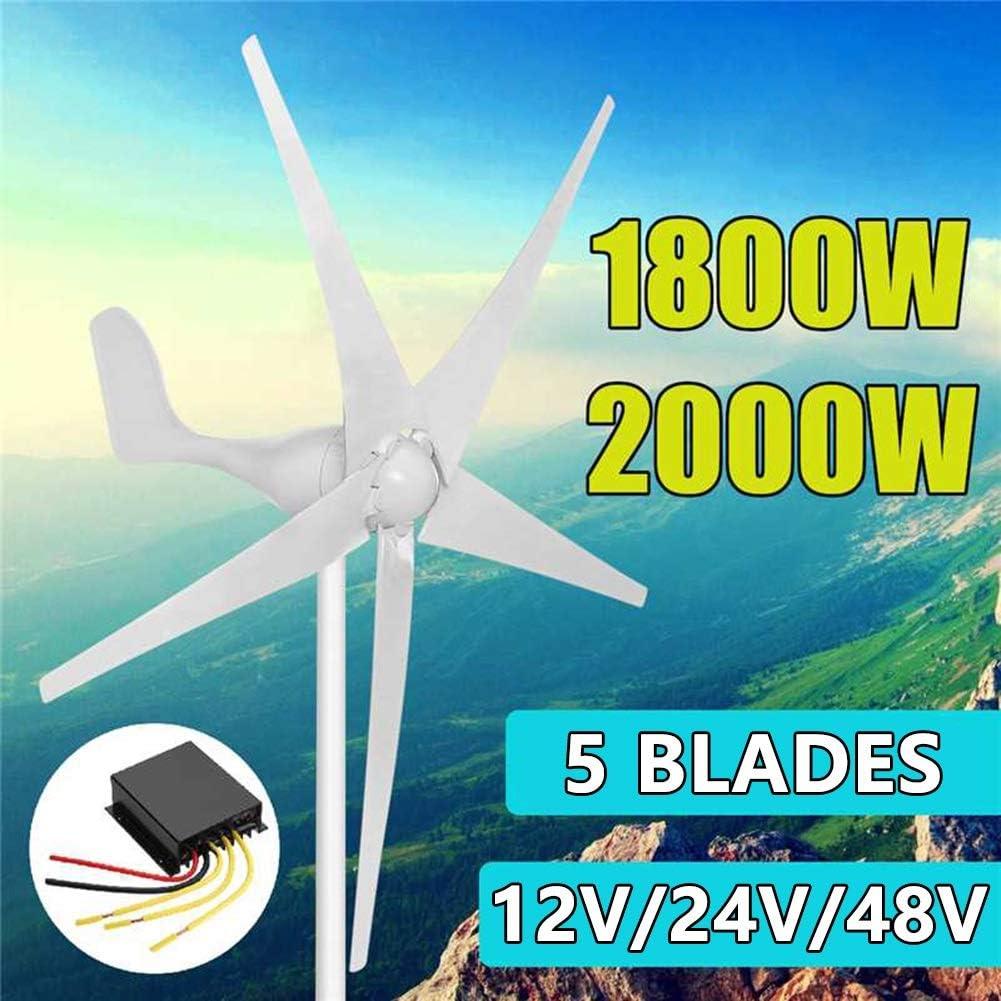 GJZhuan Turbinas Generador 1800W/2000W Viento De Energía 12/24/48V Opción 5 Cuchillas De Viento con Impermeable Controlador De Carga Ajuste For El País O Acampar (Color : 2000w, Size : 24V): Amazon.es: Hogar