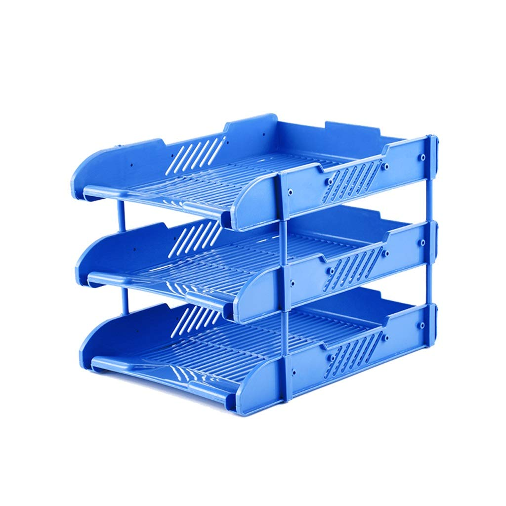 LCSHAN Desktop File Cabinet Creative Multi-Layer Folder Simple Office Supplies File Holder Three-Tier (Color : Blue) by File Shelf