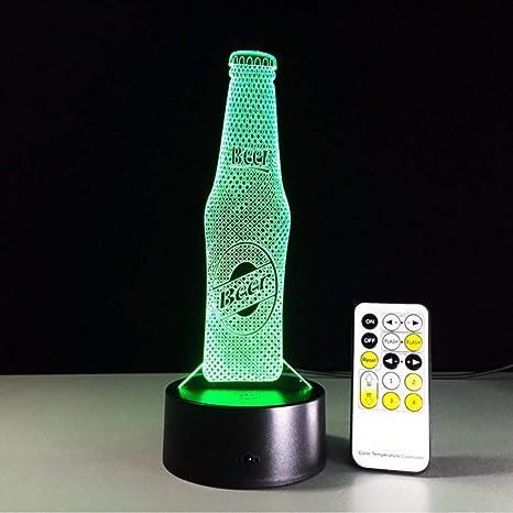 Fyyanm Botella De Cerveza De Acrílico 3D Led Luz De La Noche ...