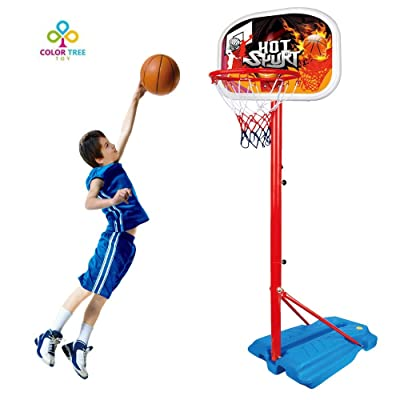 COLOR TREE Kids Basketball Hoop Stand Set Adjustable Height with Ball & Net Play Sport Games for Toddlers Boys Girls Children Indoors Outdoors Toys: Toys & Games