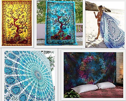 FUTURE HANDMADE Wholesale 5 Twin Tapestry Wholesale Indian Printed Tapestries Mandala Tapestry Wall Hangings Tree of Life Indian Handmade Bedspread