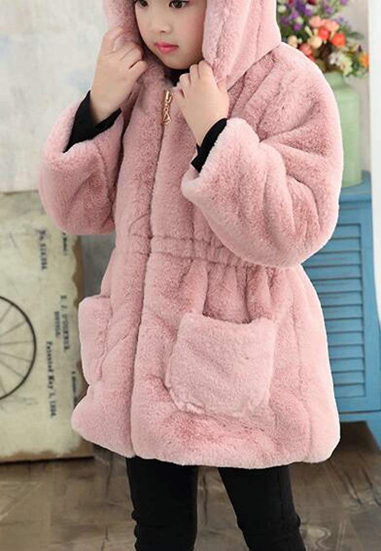 Cromoncent Girl Sherpa Coat Hoodie Winter Warm Overcoat Parkas Jackets