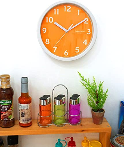 Noiseless Silent Smooth Home Room Interior Color Wall Clock Orange