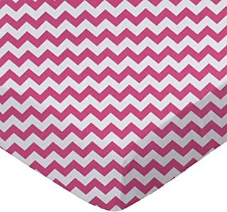 product image for SheetWorld Fitted Portable / Mini Crib Sheet - Hot Pink Chevron Zigzag - Made In USA