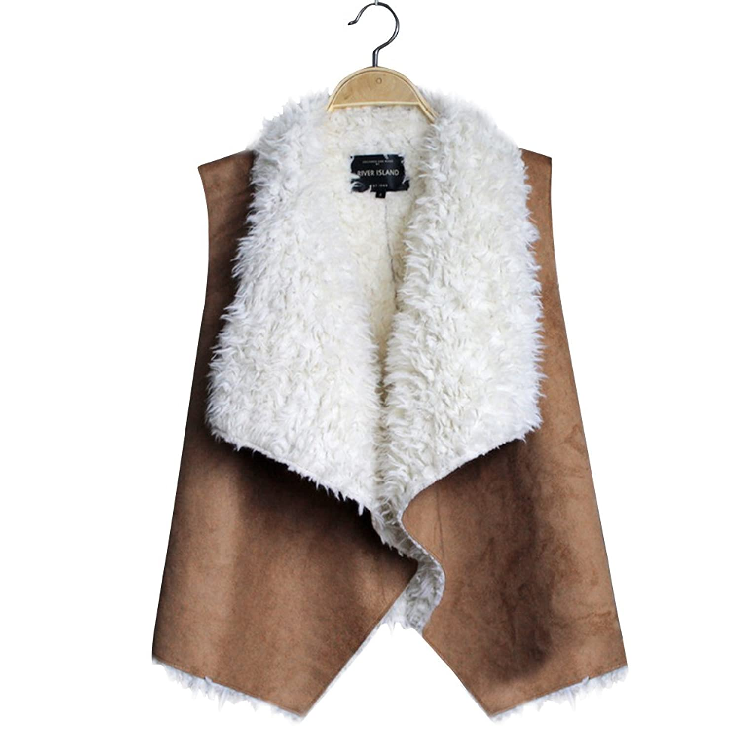 Chinatera 2015 Women Top Sleeveless Fall Pu Leather Faux Fur Liner Vest Jacket Coat