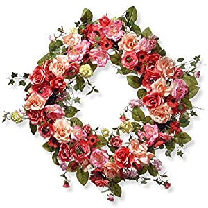 National Tree Company 32 in. Mixed Rose Spring Wreath 20