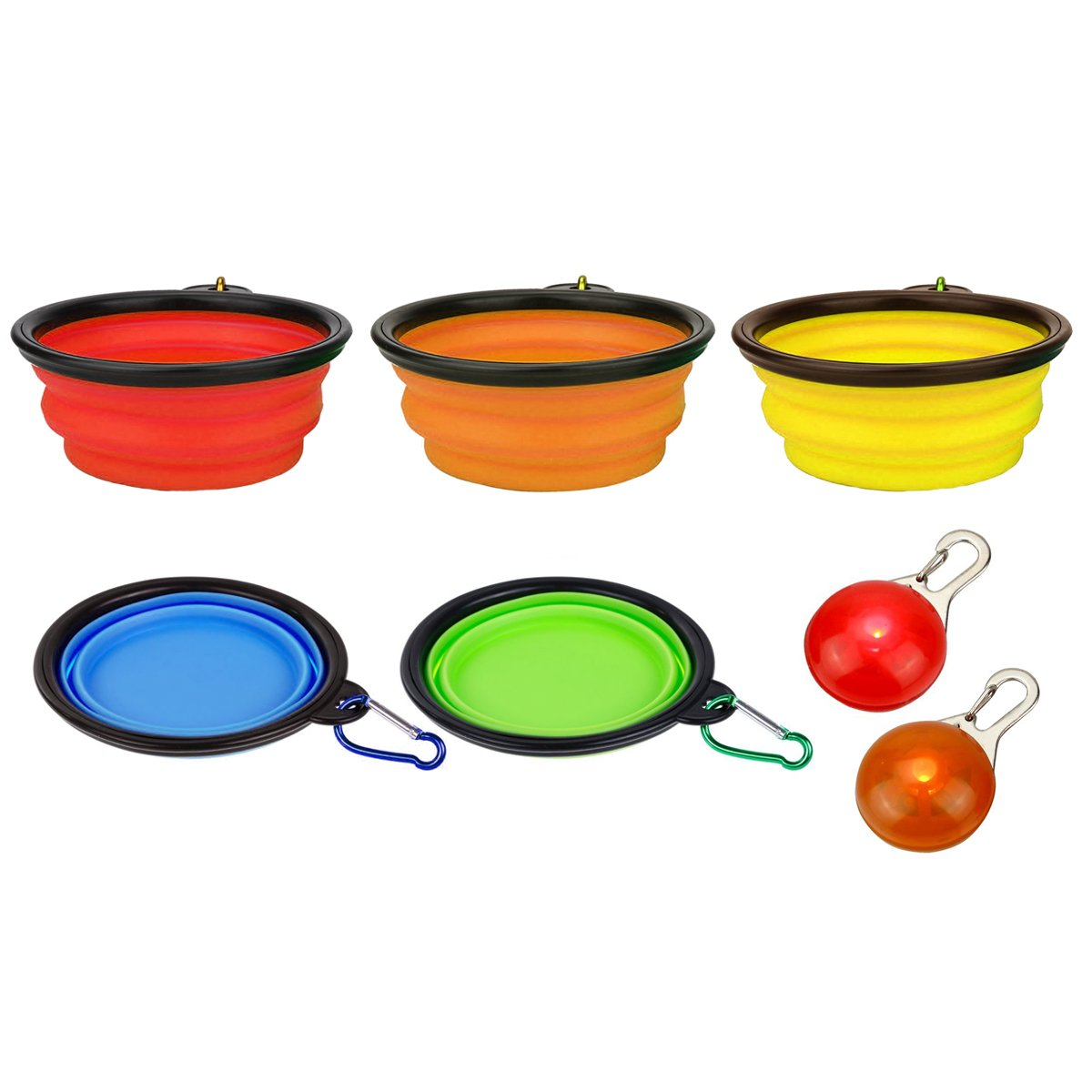 Set of 5 Colors Collapsible Travel Dog Bowls with 2 Free LED Dog Pendants Ndier