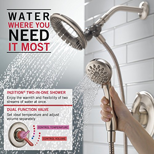 new Delta Faucet T17294-SS-I Linden Monitor 17 Series Trim Shower Only with In2Ition Two-In-One Hand Shower, Stainless