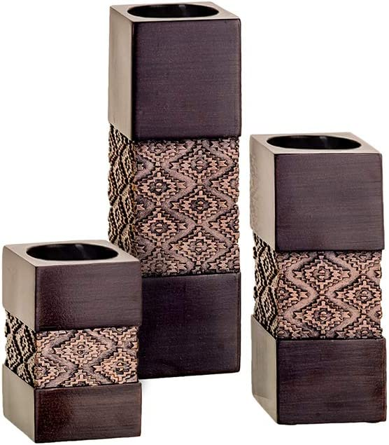 Tealight Candle Holders Table Decor Gift Set of 3 - Centerpieces for Living or Dining Room Table, Coffee Table Mantle Decor for Fireplace/Entrance, Bathroom Decor (Brown)
