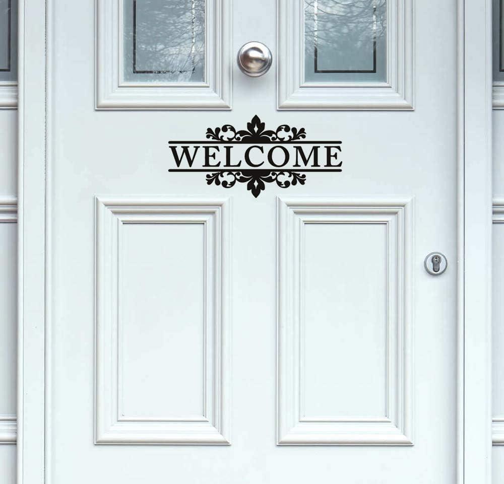 YttBuy Welcome Front Door Vinyl Decal Welcome Door Vinyl Decal Welcome Front Door Sticker Welcome Door Decal Welcome Sticker Vinyl Decal Door (4.5'' x 10.5'', Set of 2)