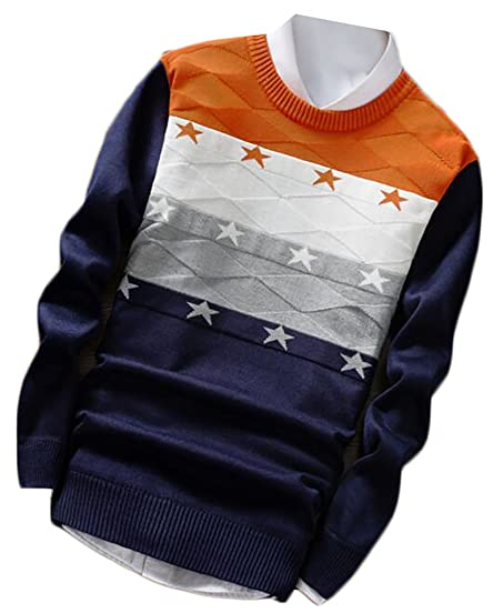 Generic Mens Crewneck Long Sleeve Color Block Star Print Pullover Sweater 1 L