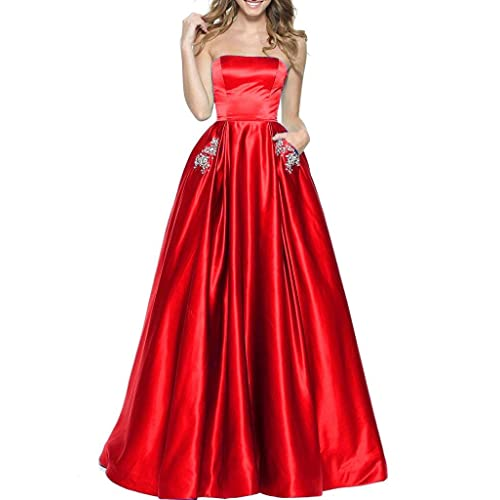 BBCbridal Womens Strapless Beaded Prom Dresses Long A-Line Homecoming Party Gowns with Pockets