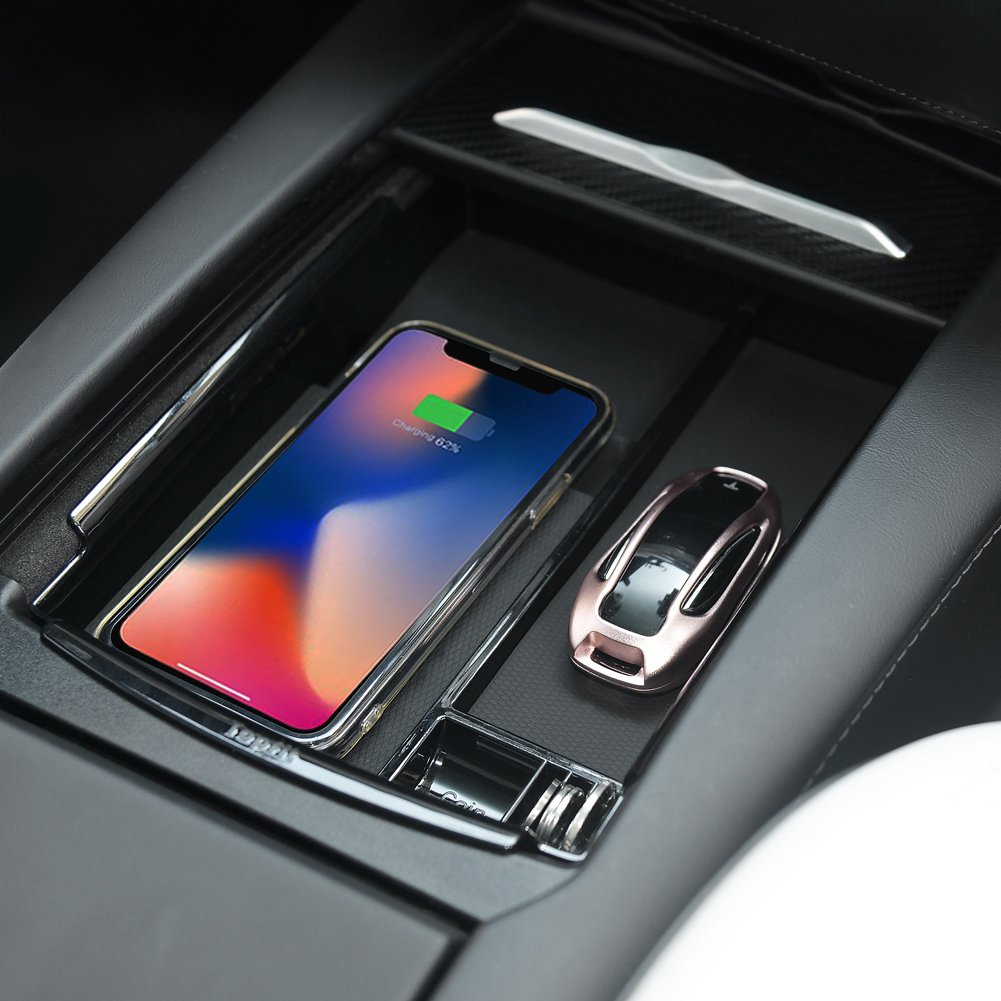 Topfit  Car Center Console Wooden Drawer Storage Box Glasses Box Customized for Tesla (with Wireless Charging) by Topfit