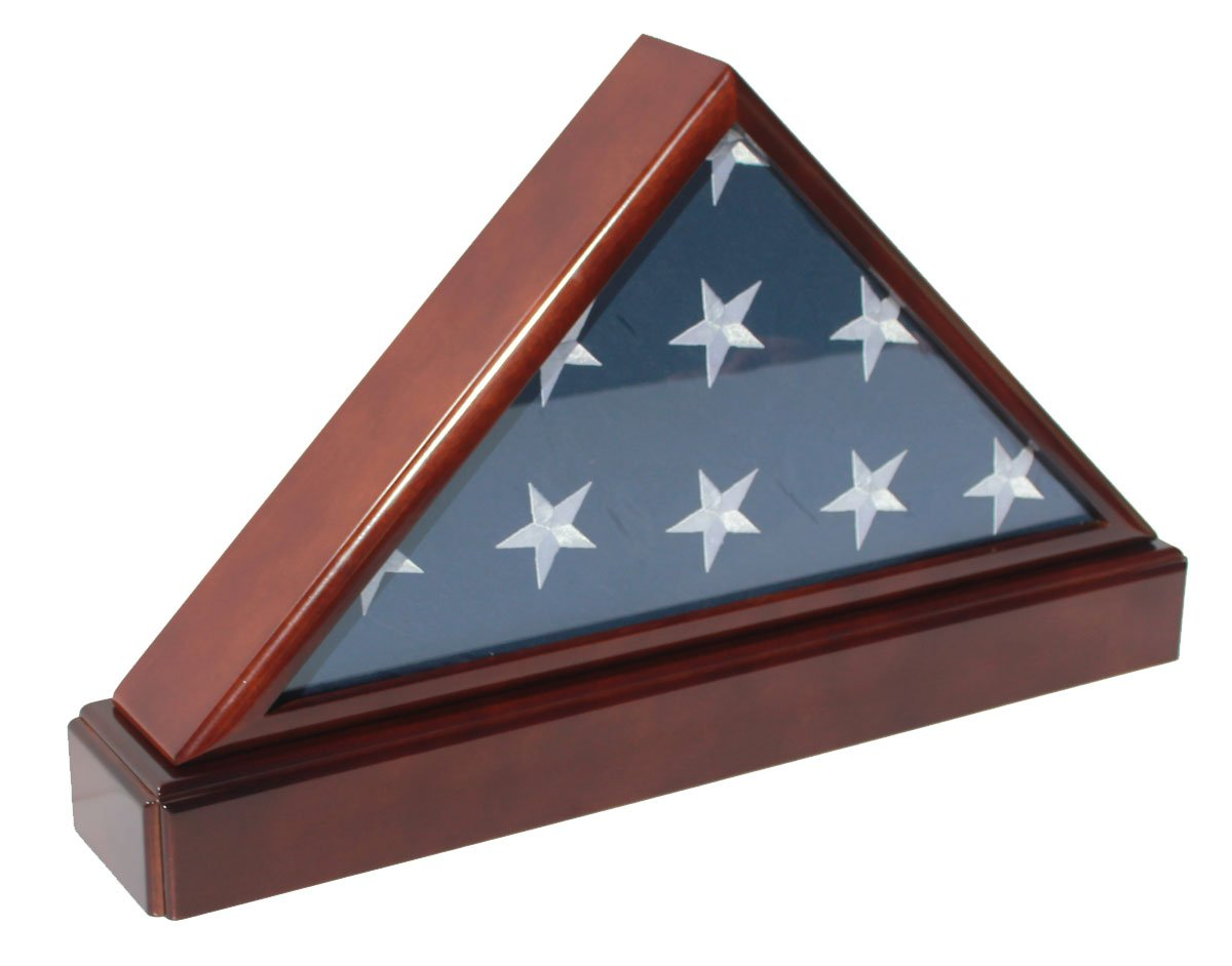 Burial/Funeral Flag Display Case Frame Military Shadow Box with Pedestal Stand, and Framing Mat (with No Mat) by DisplayGifts