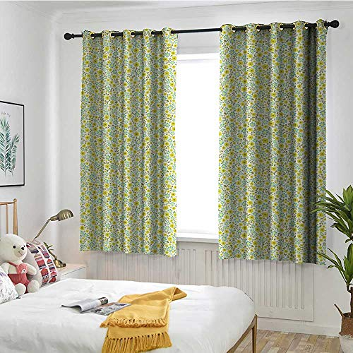 Beihai1Sun Green Blackout Curtain Doodle Style Cute Kids Girls Pattern with Daisy Flower Blooms Embossed Thermal Weaved Blackout W 55