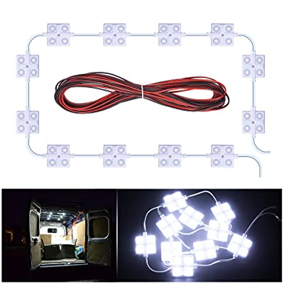 MICTUNING 40 Leds Van Interior Light Kits 12V White LED Ceiling Lights Kit for Van RV Boats Caravans Trailers Lorries Sprinter Ducato Transit VW LWB: Automotive