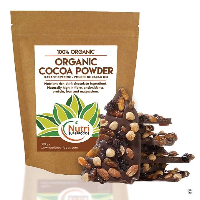 Polvo de Cacao Orgánico, chocolate negro vegano nutritivo, sin azúcar, ideal para preparar