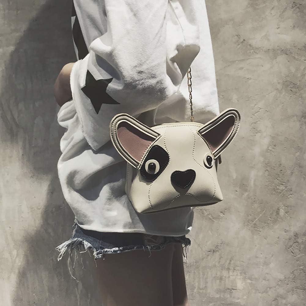 Onfashion Womens Novelty Cute Dog Face Shape Chain Crossbody Shoulder Bag Animal Handbag Purse
