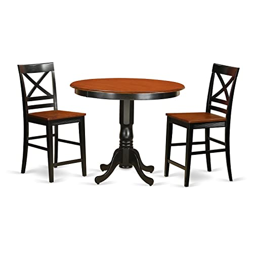 TRQU3-BLK-W 3 Pc counter height pub set-pub Table and 2 bar stools with backs