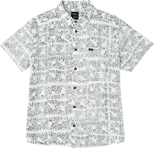 RVCA Men's Flower Block Sleeve Woven Button Down Shirt, White, S (Shirt Sleeve Woven)