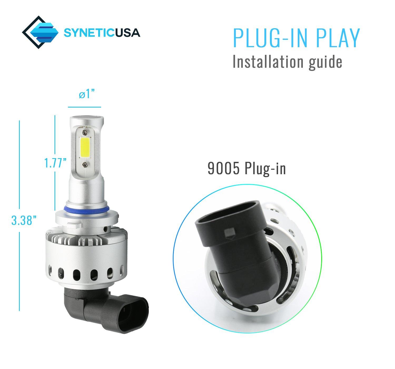 Syneticusa H11//H9//H8 LED Low Beam Headlight Conversion Kit Fog Light Bulbs 100W 10000LM 6000K White
