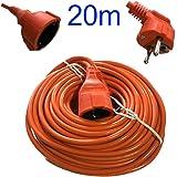 DOBO® Cavo prolunga corrente elettrica giardino da esterni schuko arancione da esterno con comoda sacca con maniglia - Disponibile : 5 - 10 - 15 - 20 - 25 - 30 metri (20 Metri)