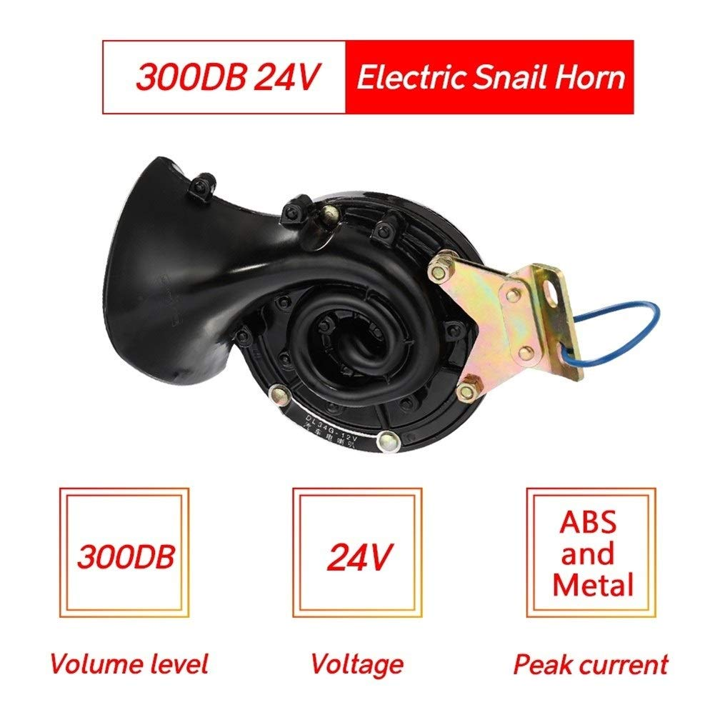 Super Loud 300DB 12V Universal Car Horn Electric Snail Horn Signal Horn Car Horns Signal Raging For Auto Vehicle Car Accessories (Color : 24V-1) by XIAOLAOBIAO