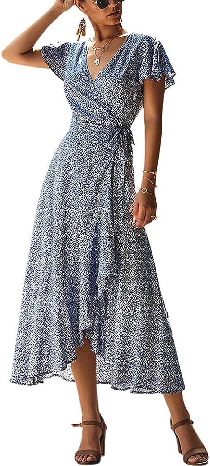 SODSIM Boho Kleid Lang Damen V-Ausschnitt Maxikleid Sommerkleid