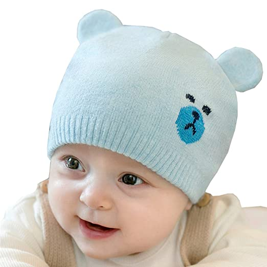 4f7b59e9d1a Amazon.com  Chihom Infant Baby Boys Girls Knitted Hat Cute Beanie Skull Cap  Warm Cuff Winter Bear Caps Blue  Clothing