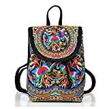 Goodhan Vintage Handmade Women Embroidery Ethnic Backpack Travel Handbag Shoulder Bag Mochila Purse Size S